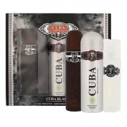 Cuba Black confezione regalo Eau de Toilette 100 ml + dopobarba 100 ml + deodorante 200 ml uomo scatola danneggiata