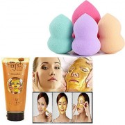 Combo Of 24k Gold Mask Pure Gold Peel Off Face Mask 1 pc and Assorted color Beauty Blender Puff - 1 pc