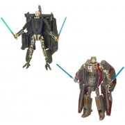 Star Wars Transformers Crossovers Blockbuster 2 Pack 7 Inch Tall Figure Set General Grievous To Grievous Starfighter And Obi Wan Kenobi To Jedi Starfighter