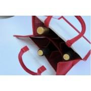 Jutová taška na 6 lahví červená