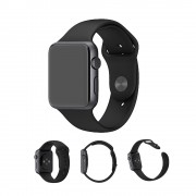 XINCUCO Soft Silicone Sport Wristband for Apple Watch Series 4 44mm / Series 3 / 2 / 1 42mm - Black