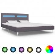 vidaXL szürke szövetkárpitozású LED-es ágykeret 180 x 200 cm