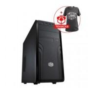 Кутия CoolerMaster Force 500 в комплект със захранване Cooler Master Elite V3 600W + подарък тениска, ATX/Micro ATX, черна, USB 3.0