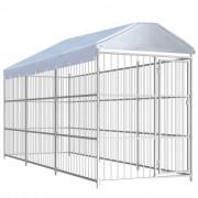 vidaXL Chenil d'extérieur avec toit pour chiens 450 x 150 x 200 cm