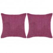 vidaXL Set perne decorative 2 buc. Velur 60 x 60 cm Roz