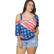 Blusa De Mujeres De Bandera Americana De Hombro