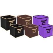 Billion Designer Non Woven 6 Pieces Small & Large Foldable Storage Organiser Cubes/Boxes (Black & Coffee & Purple) - CTKTC35381 CTLTC035381(Black & Coffee & Purple)