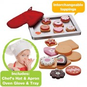 Wooden Cookie Baking Set with 28 pieces including Wooden Magnetic Cookies, Swappable Toppings, Chef's Hat, Red Oven Glove, Apron and Oven Tray