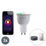 LUEDD Zestaw 3 ściemnialnych lamp LED GU10 WiFi Smart z aplikacją 4,5W 380 lumenów 2700K