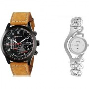Curren Miter Round Dial Black Men And Glory Silver Chain Women Couple Watches for Men and Women