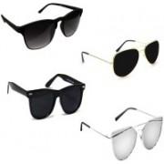 Sulit Aviator, Rectangular, Wayfarer Sunglasses(Black, Black, Black, Silver)