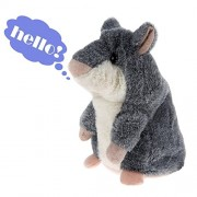 Electronic Stuffed Talking Plush Animals Pets Toys Hamster,Electric Cute Mimicry Pet Animal Toy Repeating Mouse Hamster for Kids Boys Girls Toddlers Anyback Gray
