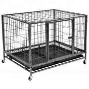vidaXL Подсилена клетка за кучета с колелца, стомана, 98x77x72 см