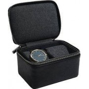 Stackers Travel watch box, black, two chamber watches