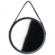 Lustro okrągłe na pasku 52cm czarne z paskiem LOFT