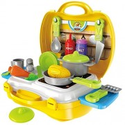 Magnifico Kitchen Set Cooking Food Pretend Play Toy Playset Role Playing Toy (Yellow 26 Pcs)