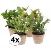 Bellatio flowers & plants 4 Kruiden kunstplanten salie laurier basilicum munt in potjes