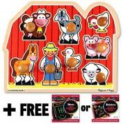 Farm Jumbo Knob Puzzle + FREE Melissa & Doug Scratch Art Mini-Pad Bundle [33916]
