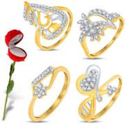 Sukkhi Valentine Collection Glimmery Gold & Rhodium Plated CZ Combo With Rose Box For Women Pack Of 4