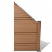 vidaXL Zošikmený záhradný plotový panel z WPC, hnedý
