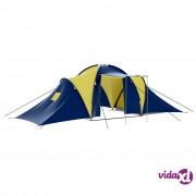 vidaXL Poliesterski kamperski šator za 9 osoba, plavo-žuti