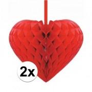 Merkloos 2x Rode decoratie hartjes versiering 15 cm