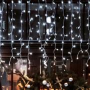Home DLFJ 400/WH IP44 400db hidegfehér LED kültéri sorolható jégcsap fényfüggöny 10m+0,3m