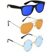 Elligator Aviator, Round, Wayfarer Sunglasses(Blue, Orange, Blue)