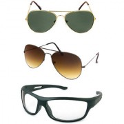 Magjons Gold Green And Brown Aviator Sunglasses Combo Clear Driving Goggale Set of 3 With box MJJ4