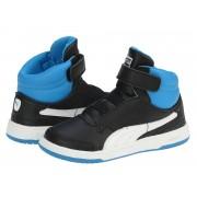 Adidasi ghete copii Puma Full Court High V Kids black-white-brilliant blue