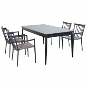 Milani Home DONATO - set tavolo da giardino allungabile in alluminio e polywood 160/240 x 90 compreso di 4 poltrone in alluminio e polyrattan