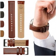 GadgetWraps 22mm Watch Band w/Quick Release - Leather Strap (Top Grain) for Samsung G2, G3, Gear, Galaxy & Frontier Plus Fossil, LG, Asus, Vintage Wat