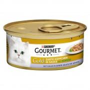 12х85г Gourmet Gold крехки хапки, консервирана храна за котки - сьомга и пиле
