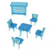 Magideal Dollhouse Furniture Wooden Toy Kids Dining Room Set