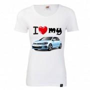 """TRICOU DAMA PERSONALIZAT """"I LOVE MY VW GOLF"""""""
