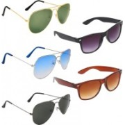 Zyaden Aviator, Aviator, Aviator, Wayfarer, Wayfarer Sunglasses(Green, Blue, Black, Black, Brown)