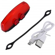 ER Luz Trasera Delantera Bicicleta Luz USB Recargables Nocturnas A -Rojo