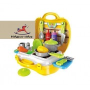 Vibgyor Vibes Ready Your Own Pretend Play Cooking Kitchen Set/Kit in A Ready to Go Suitcase, Multi Color