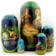 Russian Matryoshka Nativity Scene Nativity Of Christ Icon Nesting Doll 7 Inch