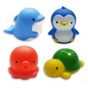 Michley Baby Bath Toys Sea Animal Water Squirter Toy Environmental Protection Material Bathtub Toys Set Of 4