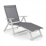 Blumfeldt Pomporto Lounge vilstol PVC PE aluminium 7-steg vit/ljusgrå