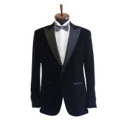 Sacou smoking catifea Slim Fit Gentlemen`s Corner - Negru