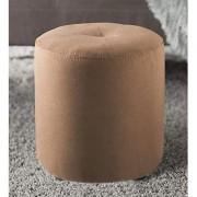 AZAZO Microfiber Round Pouffe in Brown Colour