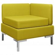 vidaXL Модулен ъглов диван с възглавница, текстил, жълт