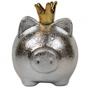 Merkloos Spaarpot spaarvarken zilver met kroon 16 x 15 cm