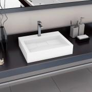 vidaXL Chiuvetă, alb, 60x38x11 cm, conglomerat turnat mineral/marmură