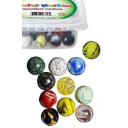 """Set Of 12 Beautiful 1"""" Shooter Marbles Bulk For Marble Games, Marble Painting & More: Multiple Colors, Excellent Quality, Portable Marble Container, Glass Game Marbles For Unlimited Hours Of Fun"""