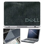 FineArts Laptop Skin Dell Cloth Texture With Screen Guard and Key Protector - Size 15.6 inch