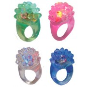 Colorful Flashing Led Jelly Ring, Soft Bubble Ring, Finger Rings, L.e.d. Rings, Giant Light up Jumbo Jewel Ring, 4 Pack, 1 of Each Color