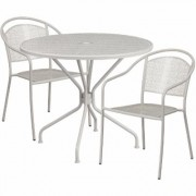 Flash Furniture 35 1/4Inch Round Metal Patio Table Set with 2 Round Back Chairs - Light Gray, Model CO35RD03CHR2SV